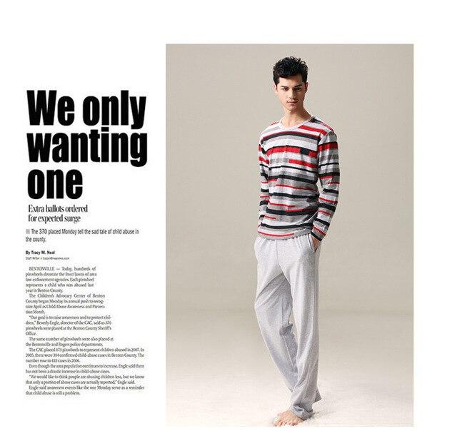 Cor da moda outono tarja de manga comprida homens Modal pijama