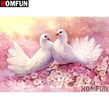 HOMFUN Full Square/Round Drill 5D DIY Diamond Painting Pigeon flower Embroidery Cross Stitch 3D Home Decor Gift A13395 a1422 diamond embroidery home decor pigeon 100