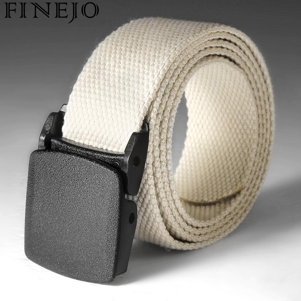 FINEJO Men Belts Military Outdoor Tactical Nylon Belt Army Style Metal Buckle Cinturon Male Jeans Tactical Belts For Men Luxury