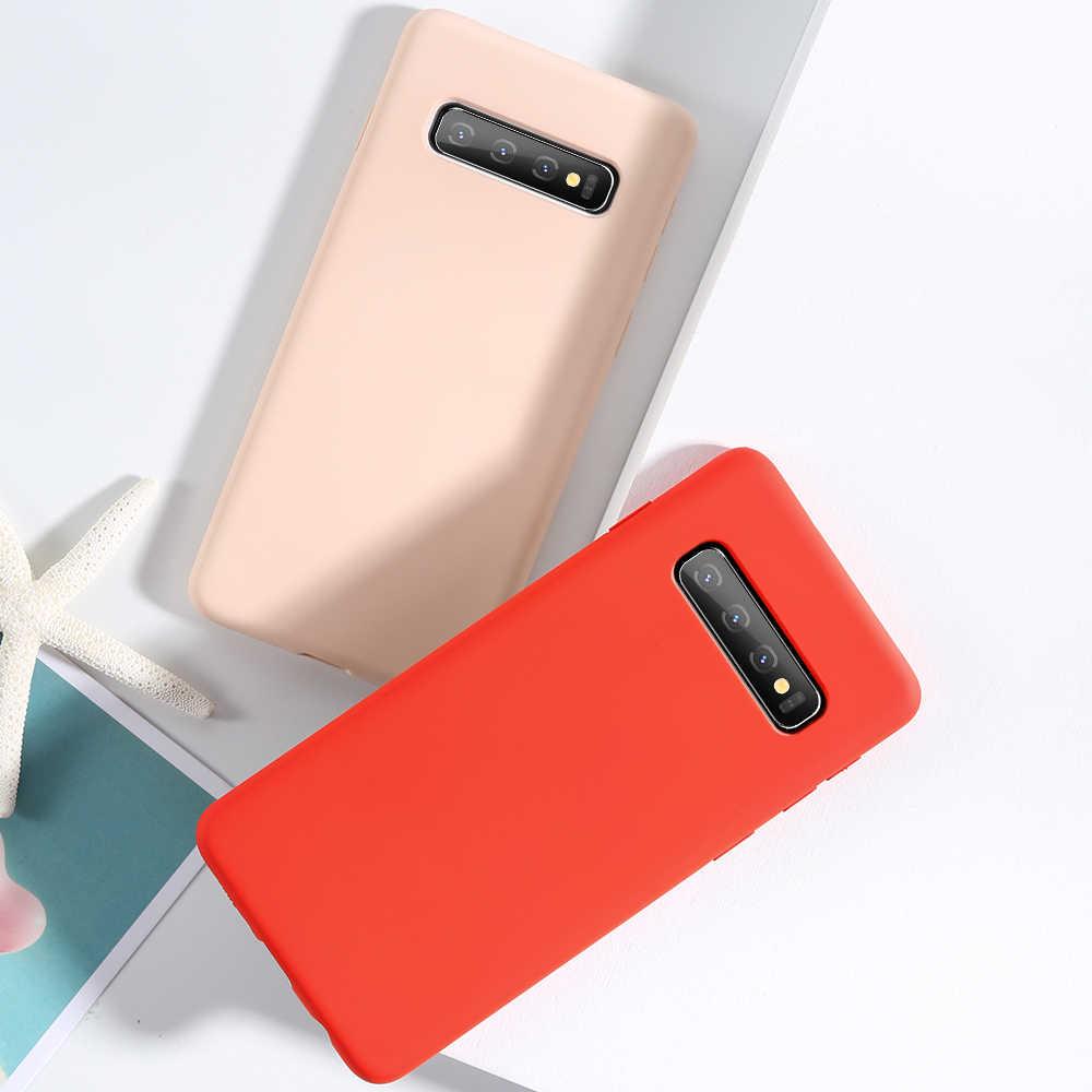 Ciuman Kasus Silikon Cair untuk Samsung Galaxy A50 A70 A7 2018 Silikon Case untuk Samsung S9 Plus S9 S8 PLUS s8 S10 Plus Catatan 9