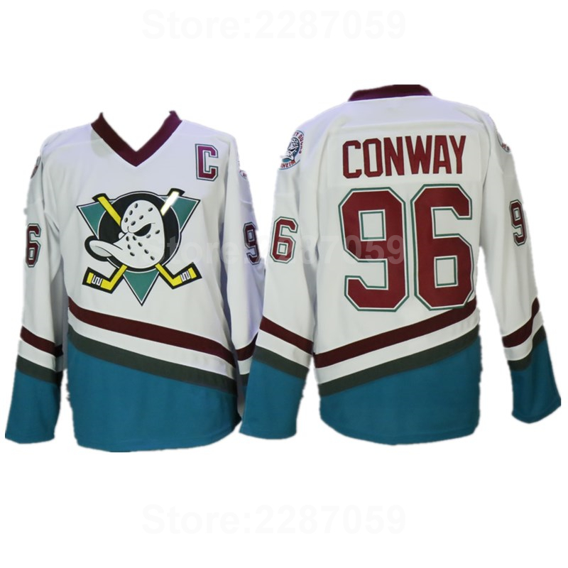 Ediwallen Movie 96 Charlie Conway Ice Hockey Jerseys The Mighty Ducks 1993 Vintage Green White Purple Stitched Color Cheap