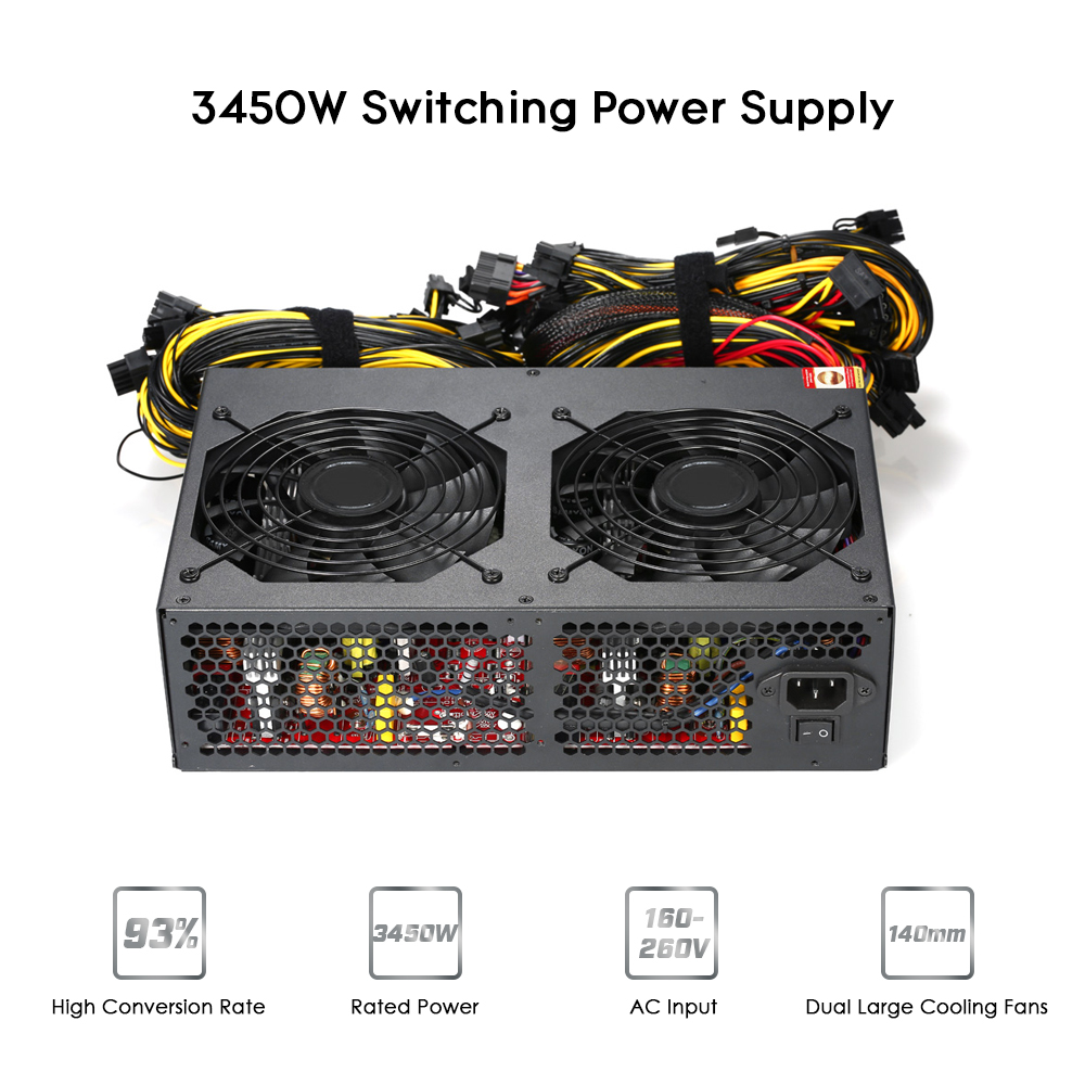 3450W Switching Power Supply Active PFC Low Noise Cooling Fans 93% Efficiency for Bitcoin Ethereum Miner Mining Machine 160-260V