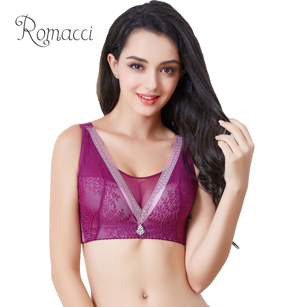 4cddc84e75 Romacci Sexy Lingerie Women BH Lace Bra Plus Size 3 4 Cup Push Up Brassiere  Padded Large Cup Transparent Underwear Big Size Bra-in Bras from Underwear  ...