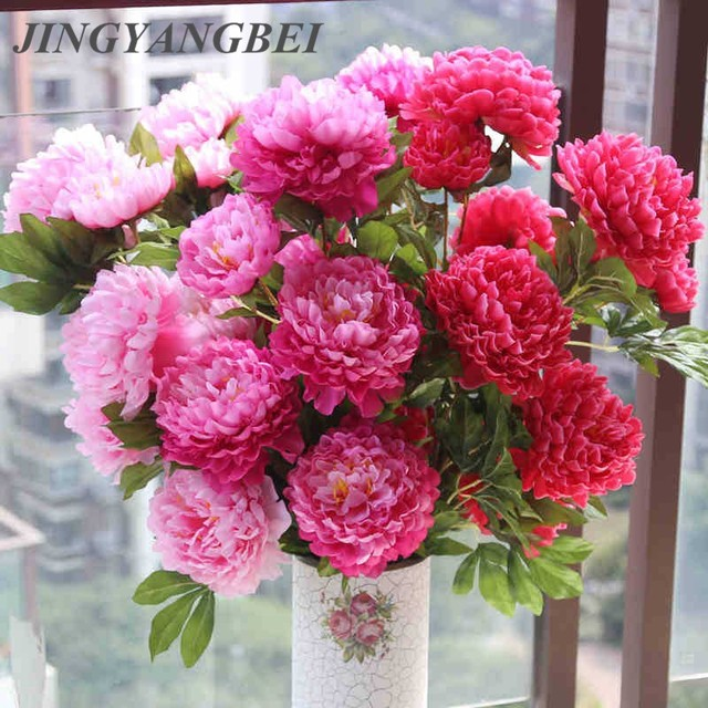 Large silk flower 5 head peony flower bouquet artificial flowers large silk flower 5 head peony flower bouquet artificial flowers fake flower home decoration christmas decorations mightylinksfo
