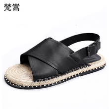 купить Genuine leather Roman sandals Mens casual breathable flat sole slippers personality straw-knitted Roman shoes summer slippers дешево