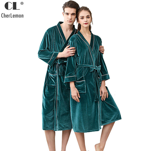 19ae50b6ae CherLemon Soft Velvet Bathrobes Womens and Mens Autumn Kimono Sleepwear  Couples Classic Long Lounge Robe Lightweight Spa Robes