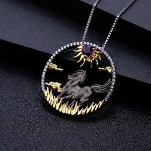 Image 3 - GEMS BALLET Natural Amethyst  Zodiac Jewelry 925 Sterling Silver Handmade Sun & Horse Gemstone Pendant Necklace For Women