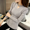New 2016 V-Neck Autumn Women Beading Sweater Long Sleeve Pullovers Knitting Casual Sweaters pull femme sudaderas jumper C754