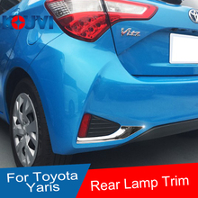 Stainless Steel Chrome Tail Rear  Fog Light Lamp Cover trim for 2017 2018 Toyota Yaris Vitz Car Accessories styling