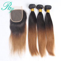 Riya Hair 1B /30 Ombre Preuvian Remy Hair Straight Hair Extension 3/4 PC With 4*4 Lace Closure With Dark Black Roots Human Hair