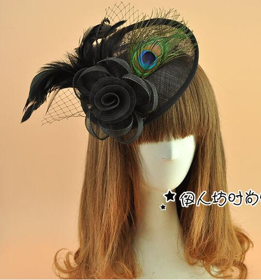 Mesh Head flower Sinamay fascinators Retro Renaissance Headwear Peacock  feather 32ce999a557