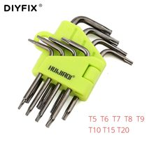 DIYFIX Mini Torx klucz gwiazda klucz śrubokręt zestaw T5 T6 T7 T8 T9 T10 T15 T20 dla Macbook/Xbox one/PS4/HDD zestaw narzędzi do naprawy