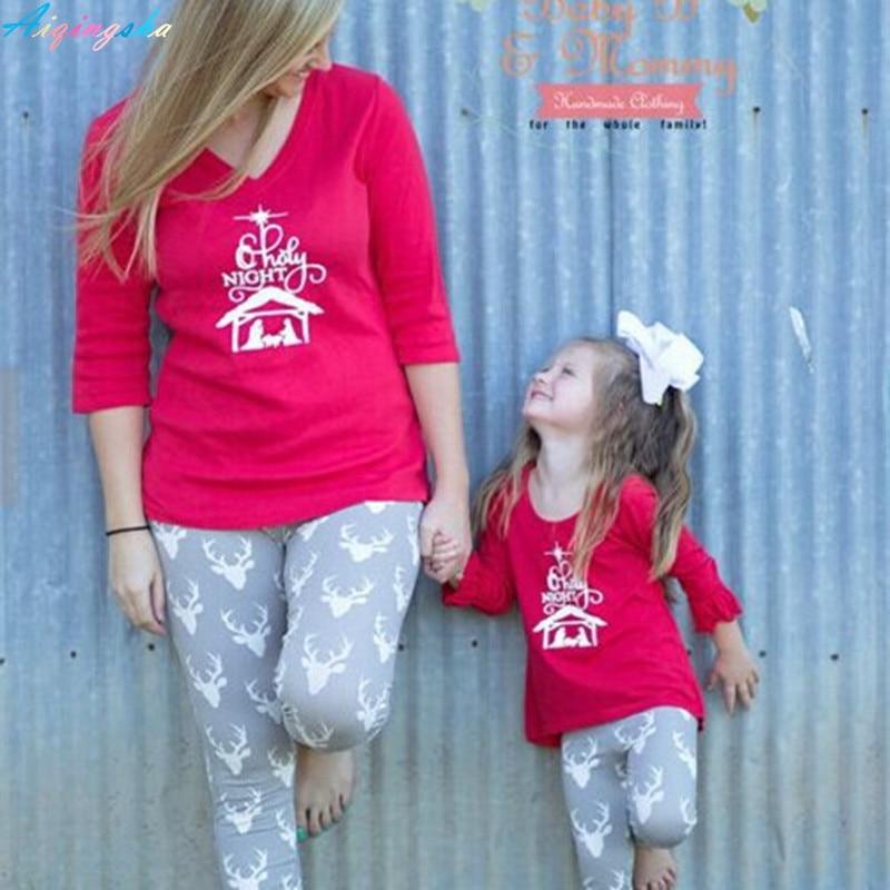 Children Baby Girls Pajamas Set Christmas Suits Pyjamas Kids Mother Daughter Pajamas Family Matching Christmas Pajamas Clothing