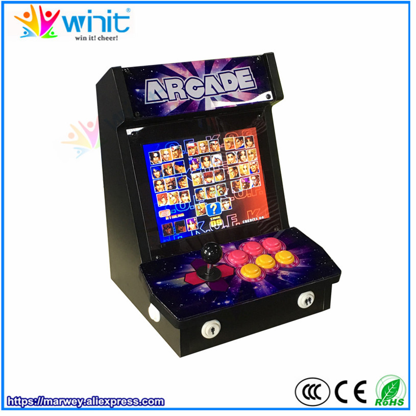 Marwey mini bartop Pandora 4S arcade game console fighter box 9 inch LCD video display 680 classic games 1 player joystick classic 680 games console double game console pandora s box 4s arcade board machine joystick game controller