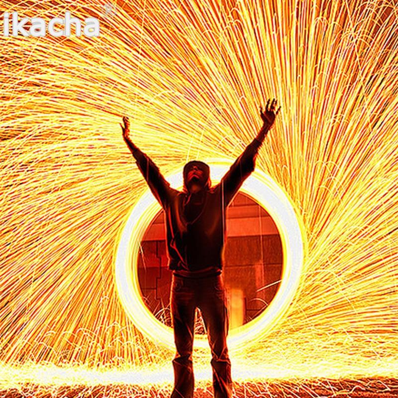 Nuovo selfie acciaio per utensili lana fotografia spettacolare fiery foto in fibra di metallo di alta qualità per la pittura di luce a lunga esposizione effetto