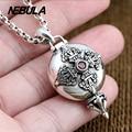 925 Sterling Silver Vintage Buddhist treasures box Cross Pendant Necklace Jewelry For Men & Wonmen Punk Thai Silver Faith