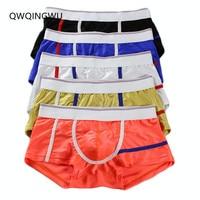 5PCS/Lot Brand Male Underwear Bright Silky Men Underwear Cueca Boxer Short Calzoncillos Hombre Underpants Underwear Men Boxers