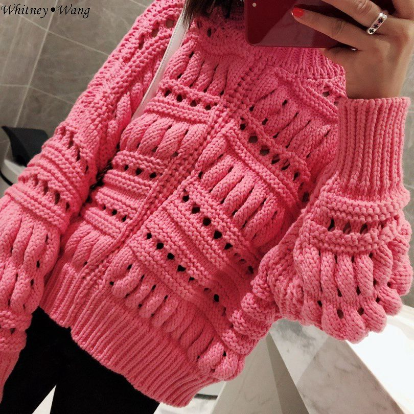 Évider 2018 Streetwear Wang Mode Des Oversize Pull Femmes Hiver Whitney Chandails Jumper Automne xqY1fpSSw