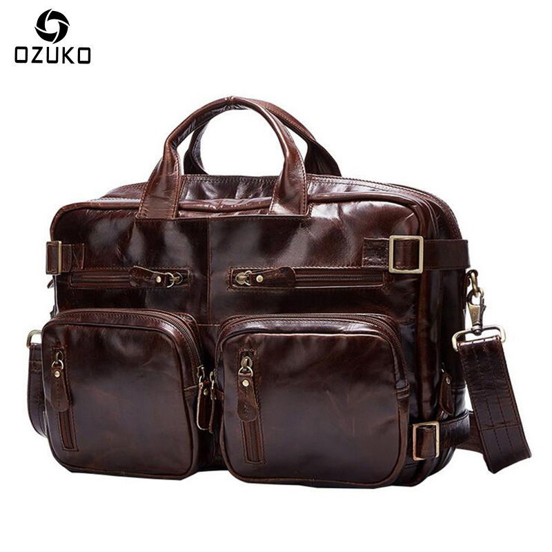 2018 OZUKO Genuine Leather Men Bag for Men Business Laptop Shoulder Bags Casual Travel Backpacks Fashion Laptop Backpack genuine cow leather vintage casual mens women backpack shoulder crossbody bags men travel backpacks for man school laptop bag