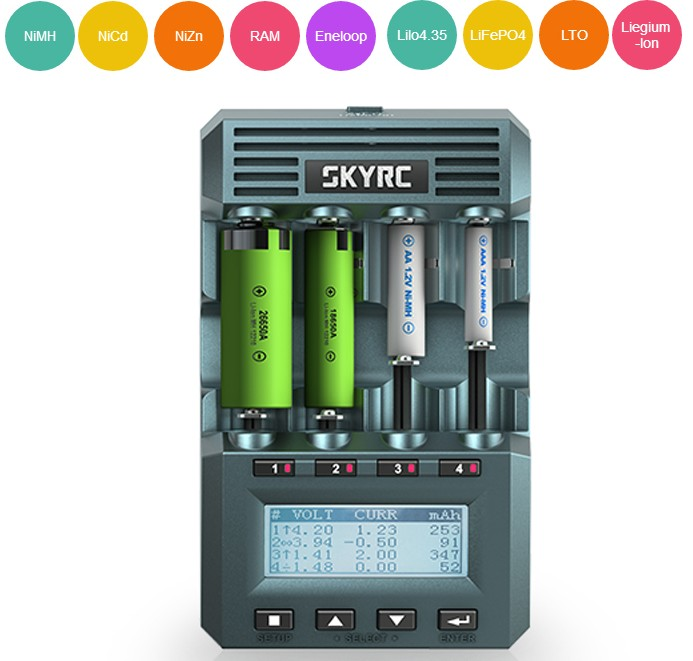 Original SKYRC MC3000  Smart 4 Slots LCD Display UNIVERSAL BATTERY Charger IPHONE /by Phone For Mutilcopter Fpv Rc Drone
