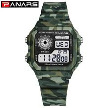 Мужские спортивные цифровые часы PANARS, военный, камуфляжный, армейский, зеленый светодиодный, водонепроницаемые мужские часы 50 м reloj hombre