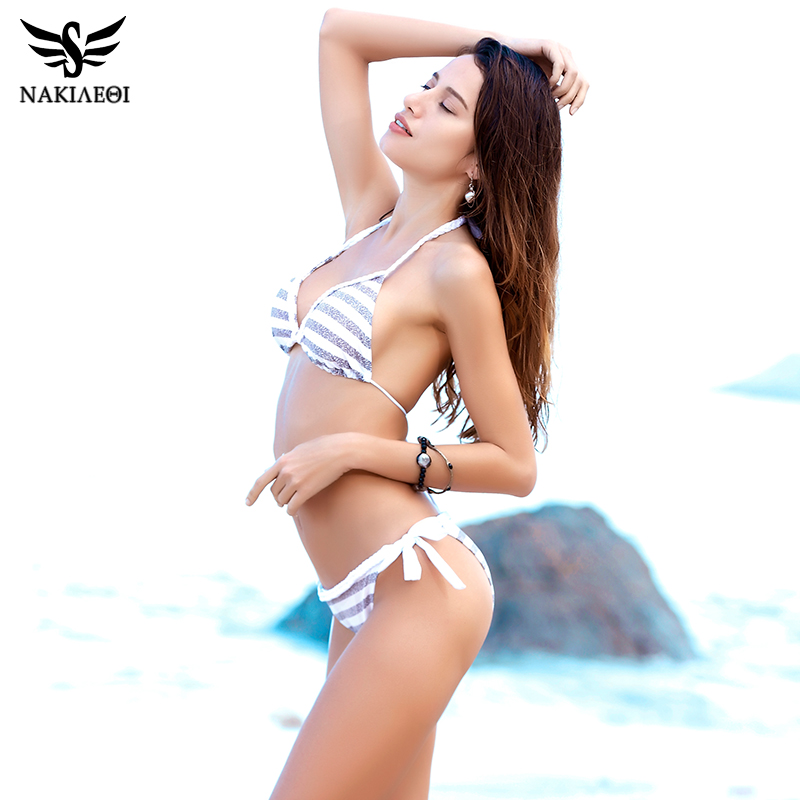 NAKIAEOI 2018 Sexy Handmade Crochet Bikinis Women Swimsuit Push Up Swimwear Brazilian Bikini Set Halter Bathing Suit Swim Wear 3