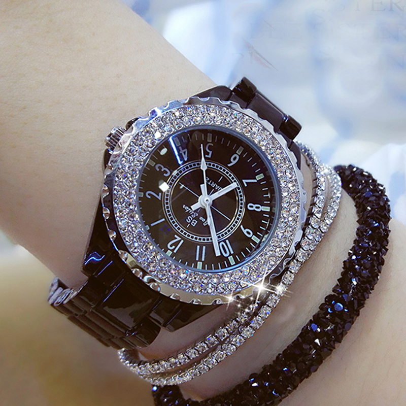 Women Watches Fashion Casual Luxury Rhinestone Quarts Black White Ceramic Watch Birthday Valentine's Day Gift