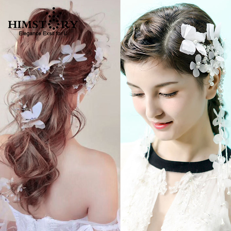 7147ba79917bc HIMSTORY Handmade White Fairy Butterfly Hairpins Long Ear Cuff Set Elegance Flower  Hairclips Ear Wedding Bride