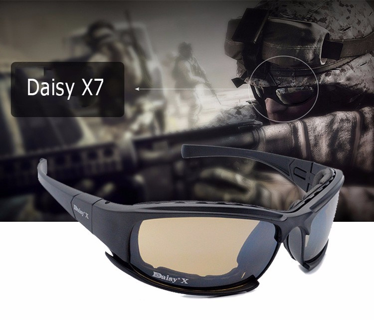 New Arrivals Daisy X7 Glasses Military Goggles Bullet proof Army Sunglasses With 4 Lens Original Box