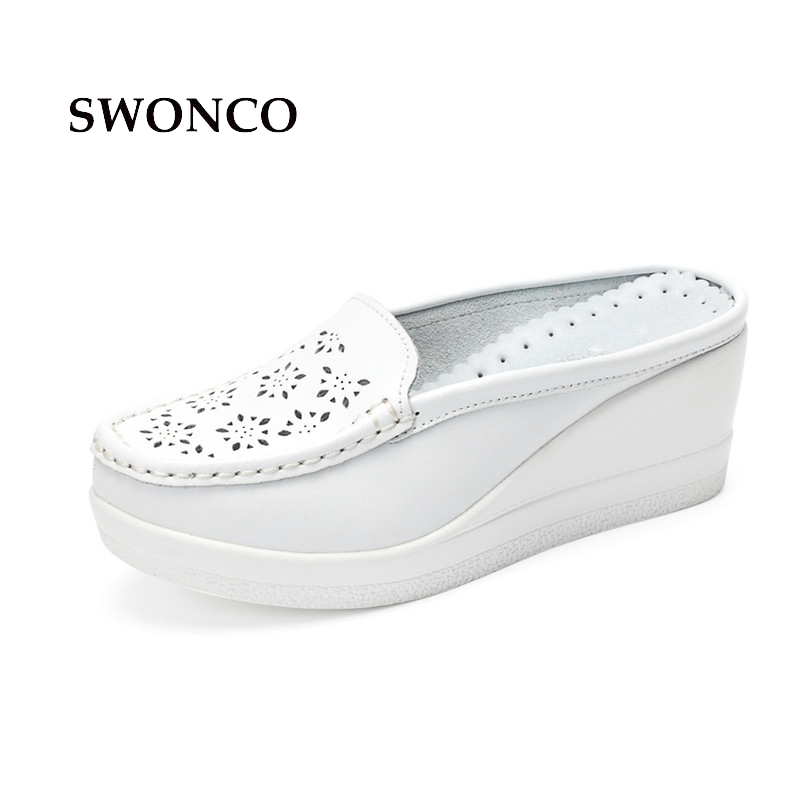 SWONCO Women's Slippers Genuine Leather High Heels Half Shoes Ladies Shoes Slippers Women Summer Sandals Breathable Sandals swonco women s slippers half shoes candy color breathable female slipper 2018 woman slippers summer sandals ladies beach shoes