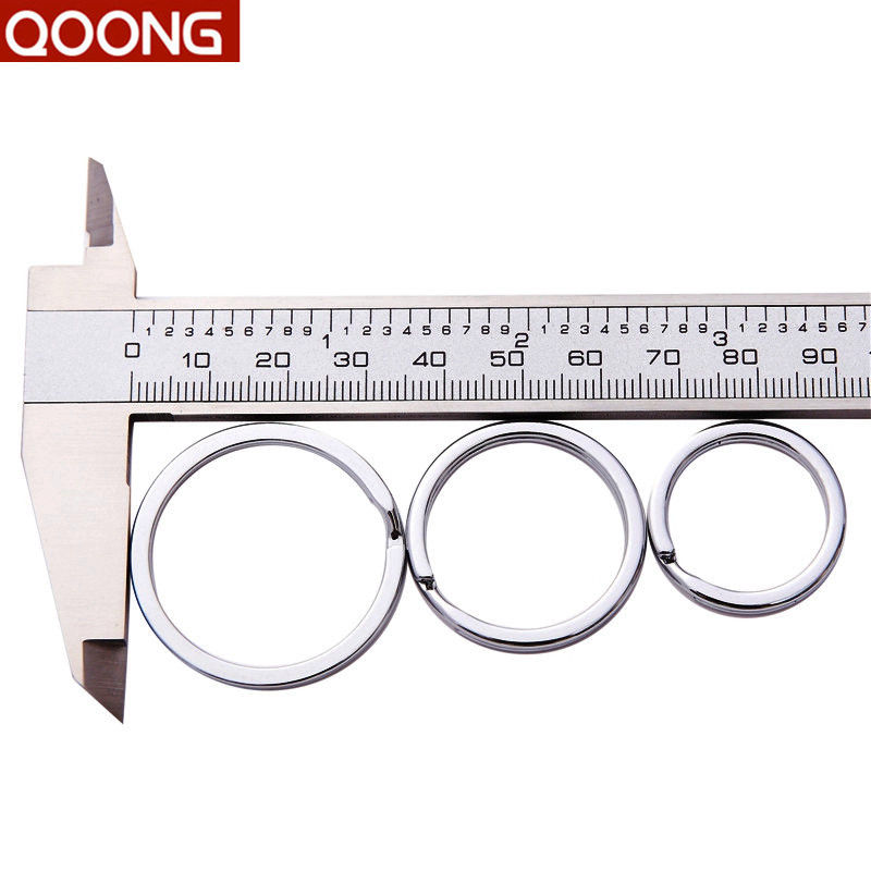 QOONG Lot 10 Pcs 35mm 30mm 25mm Stainless Steel Key Chain Split Rings Unisex Key Ring Keychain Accessories Q01