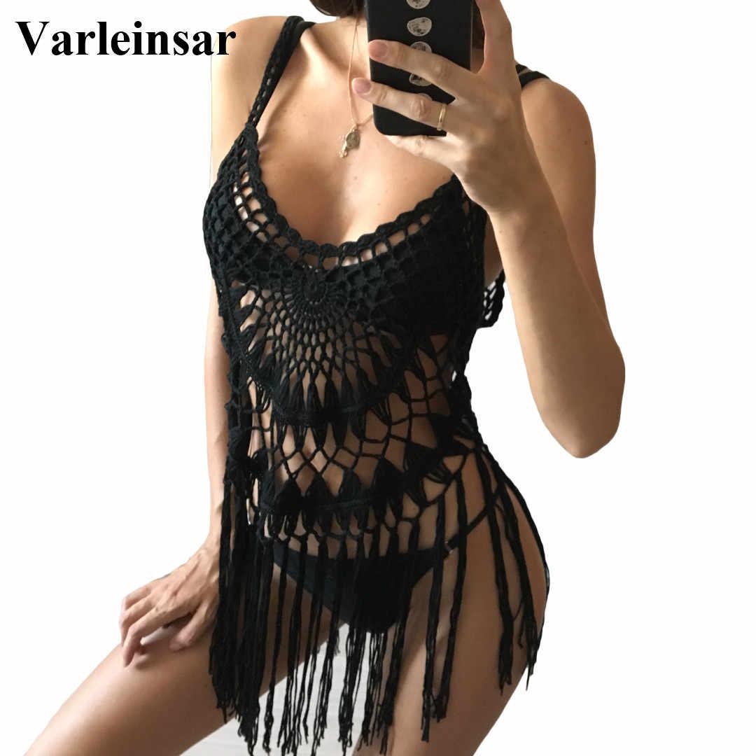 642fb9b461 S- XXL Plus Large Size Women Fringe Tassel Crochet Tunic Beach Cover Up  Cover-