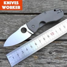 LDT C158 Folding Knives Pocket Tactical Knife Stone Wash D2 Blade Titanium Handle Camping Survival Outdoor Knife EDC Tool OEM