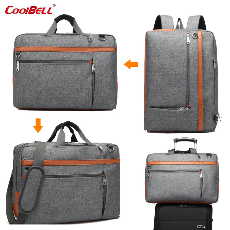 CoolBELL 17 17.3 Inch Laptop Backpack Nylon Convertible Shoulder bag  Laptop Case Business Gray/Black  CB-5506 -FF brand coolbell for macbook pro 15 6 inch laptop business causal backpack travel bag school backpack