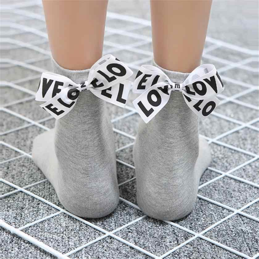 Mode Frauen Baumwolle Bogen Liebe Brief Lange Socken Hohe Qualität Komfortable frauen Socken Feuchtigkeits Socquette Hocoks Sokken