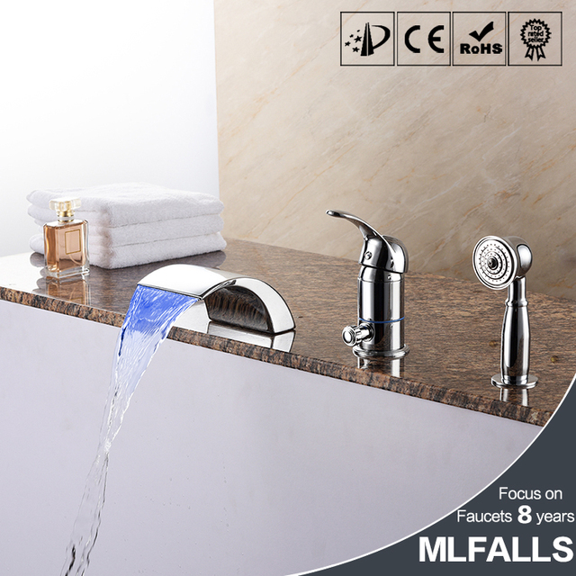 three piece bathroom faucet. Waterfall bathtub faucet brass chrome body suit five holes with three piece  bathroom shower