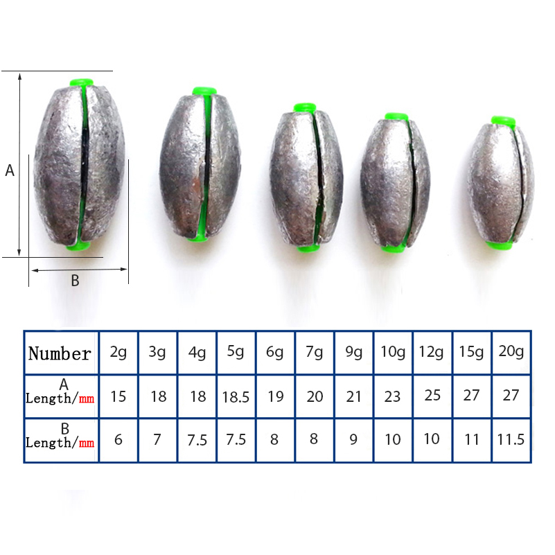 10pcs Fishing Sinkers Quick Lead Sinker Fishing Lure Accessories Oval Split Lead Shot Sinker for fishing
