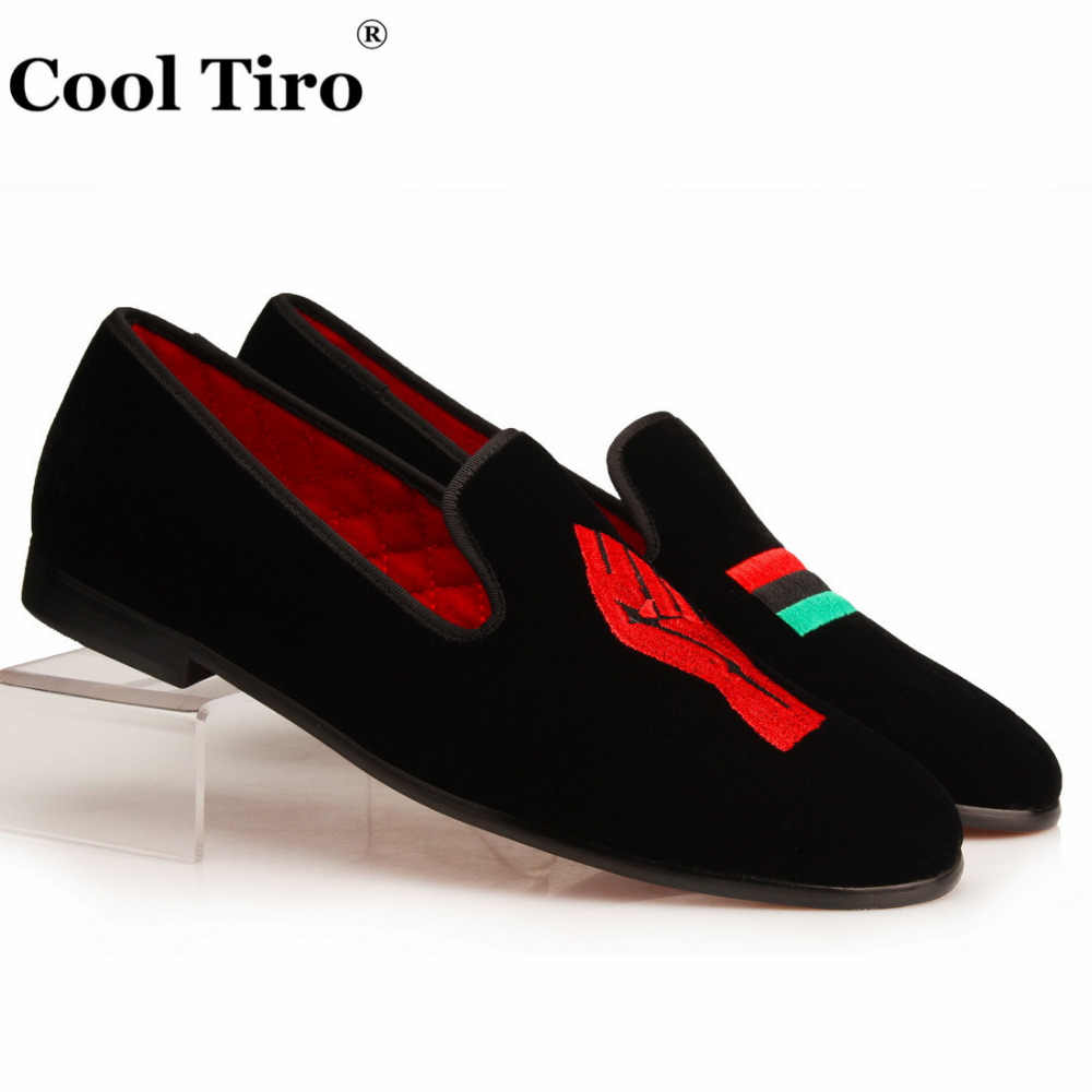 Cool Tiro Men Velvet Slippers Loafers Embroidery Unity for Black People and Peace Moccasins Men's Dress Shoes formal Flats
