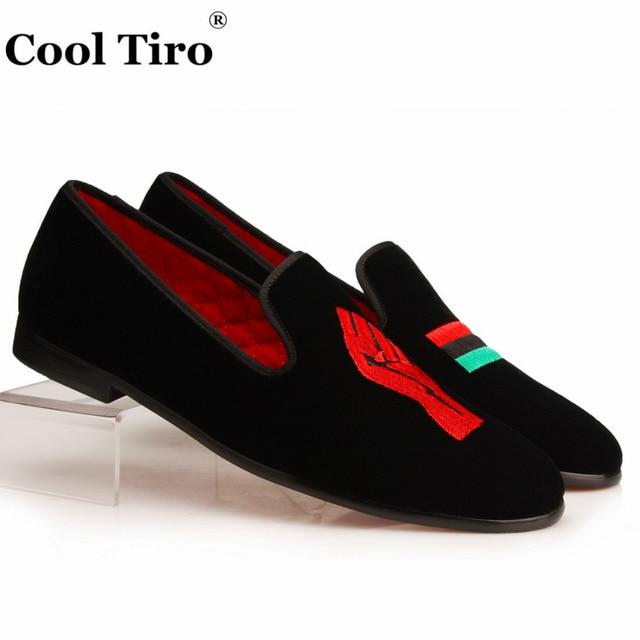Cool Tiro Men Velvet Slippers Loafers Embroidery Unity For Black