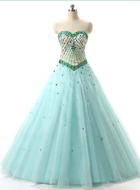 Sweetheart Green Quinceanera Dresses Tulle With Beaded Masquerade Ball Gown Sweet 16 Dresses Vestido De 15 Anos