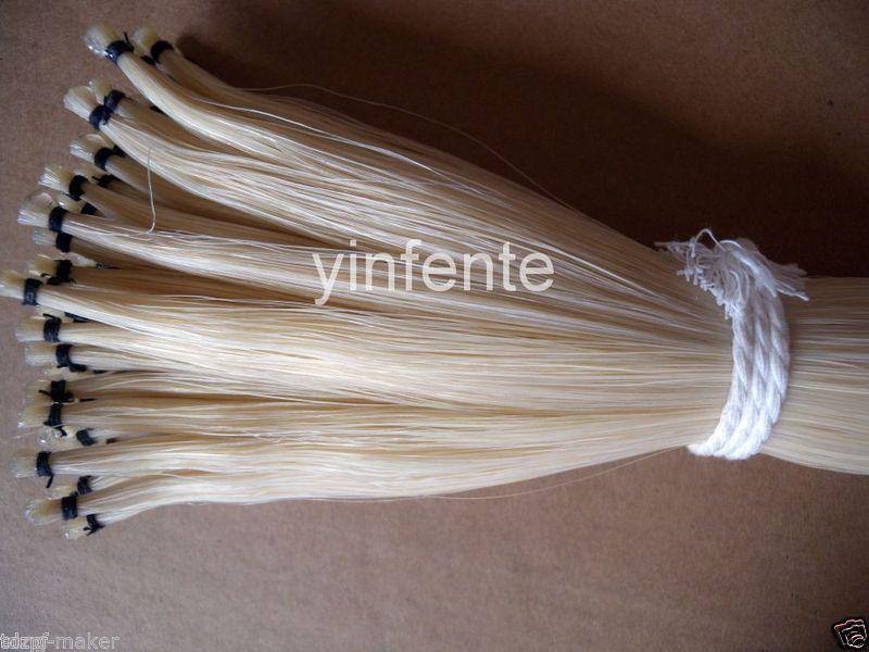 72-75cm bow horse hair Tail natural white mongol 30 hand  #7 60 hanks stallion violin horse hair 7 grams each hank 32 inches in length