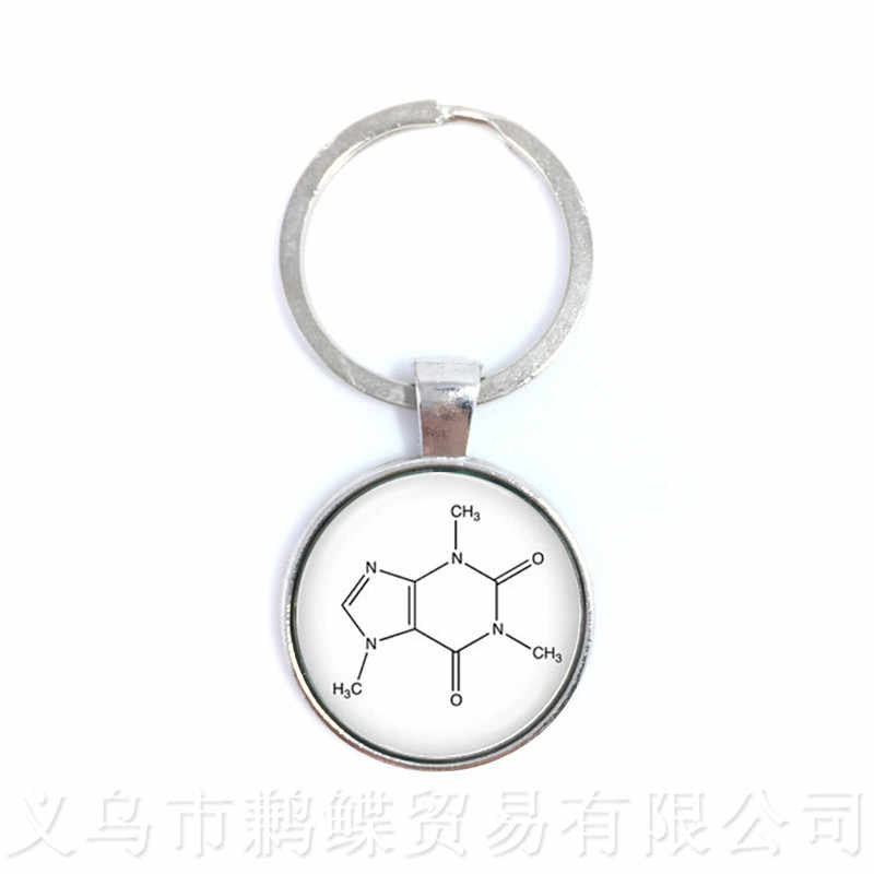 Theobromine Biology Chemistry Element Chemical Formula Keychains Biochemistry Chocolate Molecule Image Pendant Creative Gift