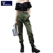Vangull calças de cintura Alta Novas soltos corredores harem das mulheres do exército calças cargo camo calças streetwear do punk preto mulheres calças capris