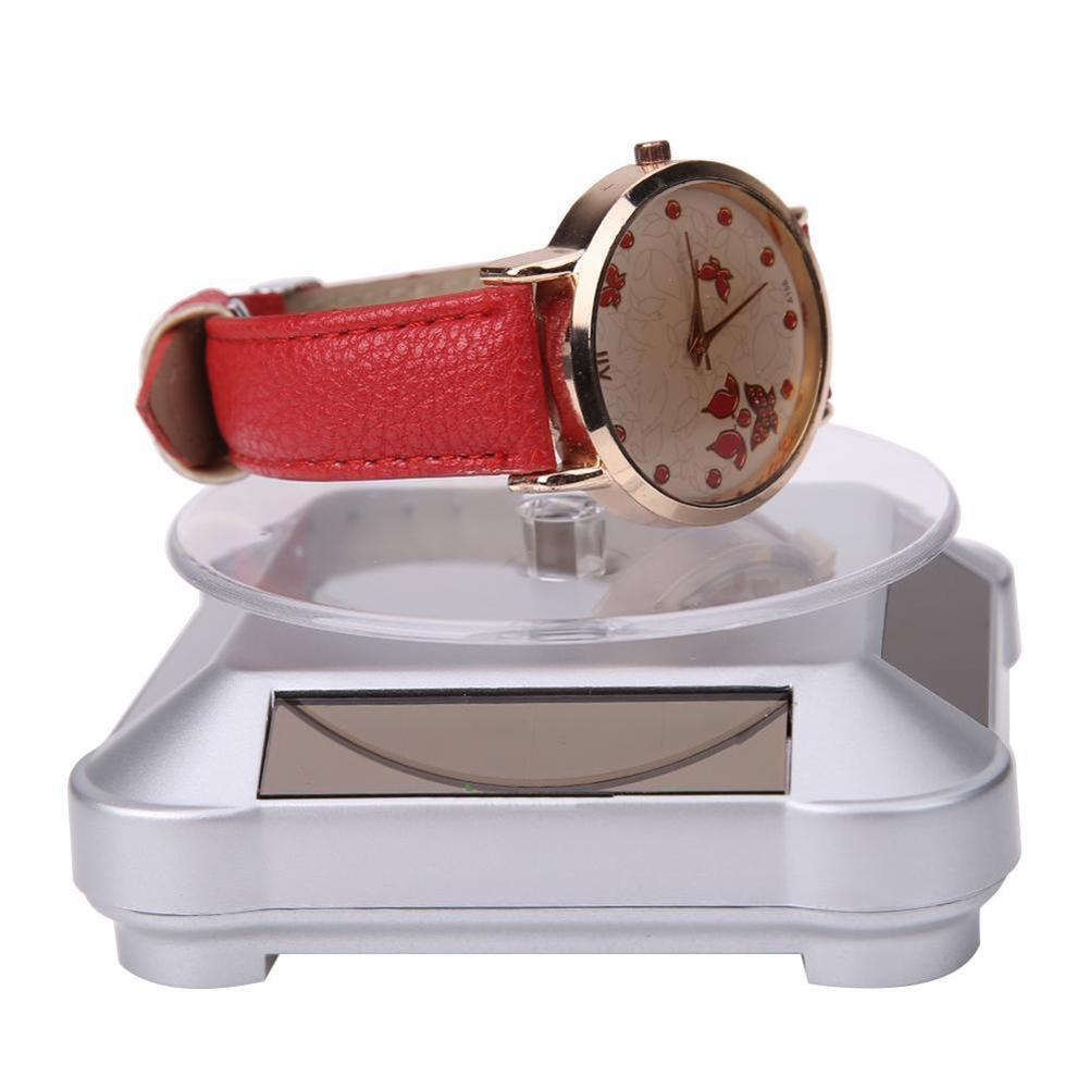 11.11 Trendy Solar Showcase 360 Turntable Power Rotating Jewelry Stand Phone Watch Display Holder Turning Table High Quality