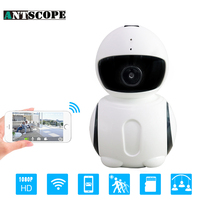 Antscope Robot HD1080P 2MP WIFI IP Camera Merk Nachtzicht Bewakingscamera IR Mini Robot Indoor Home Office Wi-fi Een Reset