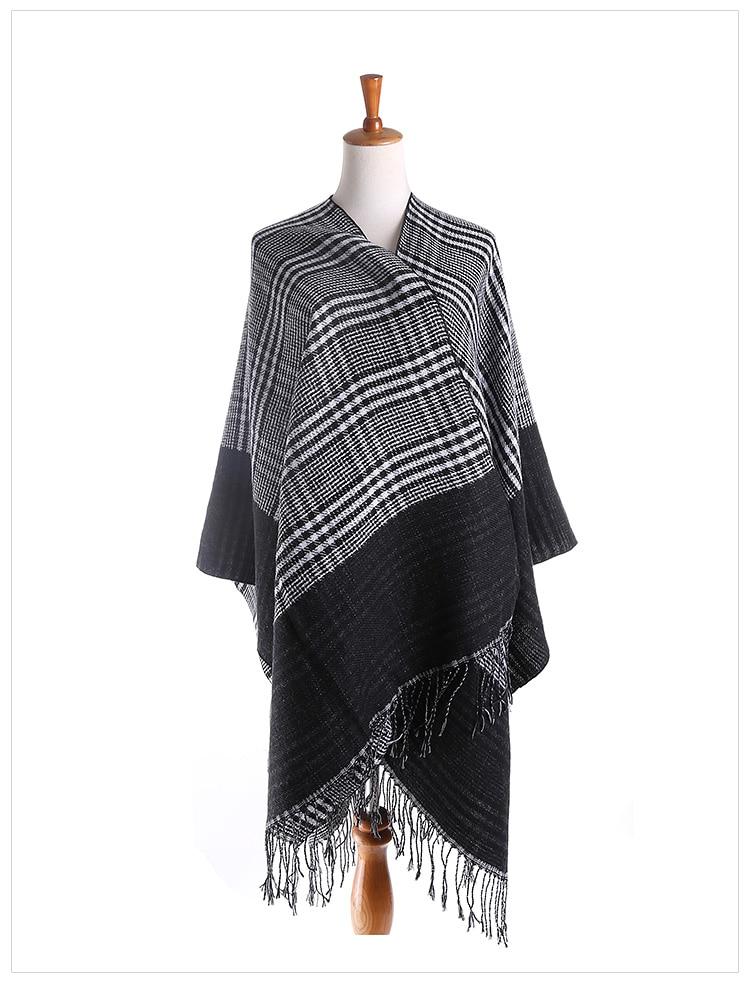 women scarf luxury brand plaid shawl warm winter scarf cashmere shawl tasel pashmina square houndstooth wrap echarpe 165*140CM