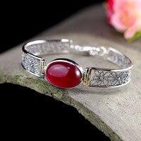 L&P New Arrival Natural Garnet 925 Sterling Silver Hand Bracelet&Bangles For Women Girl Fashion Elegance Manual Design Jewels