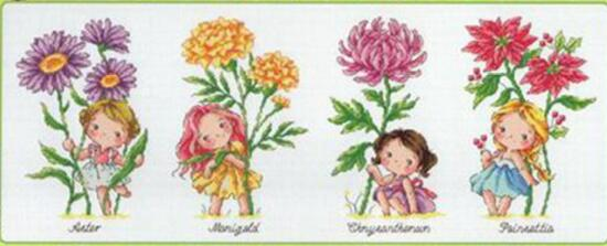 US $15 25 |Gold Collection Counted Cross Stitch Kit Birth Flower September  October November December Marigold Chrysanthemum Four Girls SO-in Package
