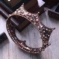 Barroco Do Vintage de Strass Preto Contas Redondas Grande Coroa Do Cabelo Do Casamento Acessórios de Cristal de Luxo Rainha Rei Coroas Tiaras De Noivas