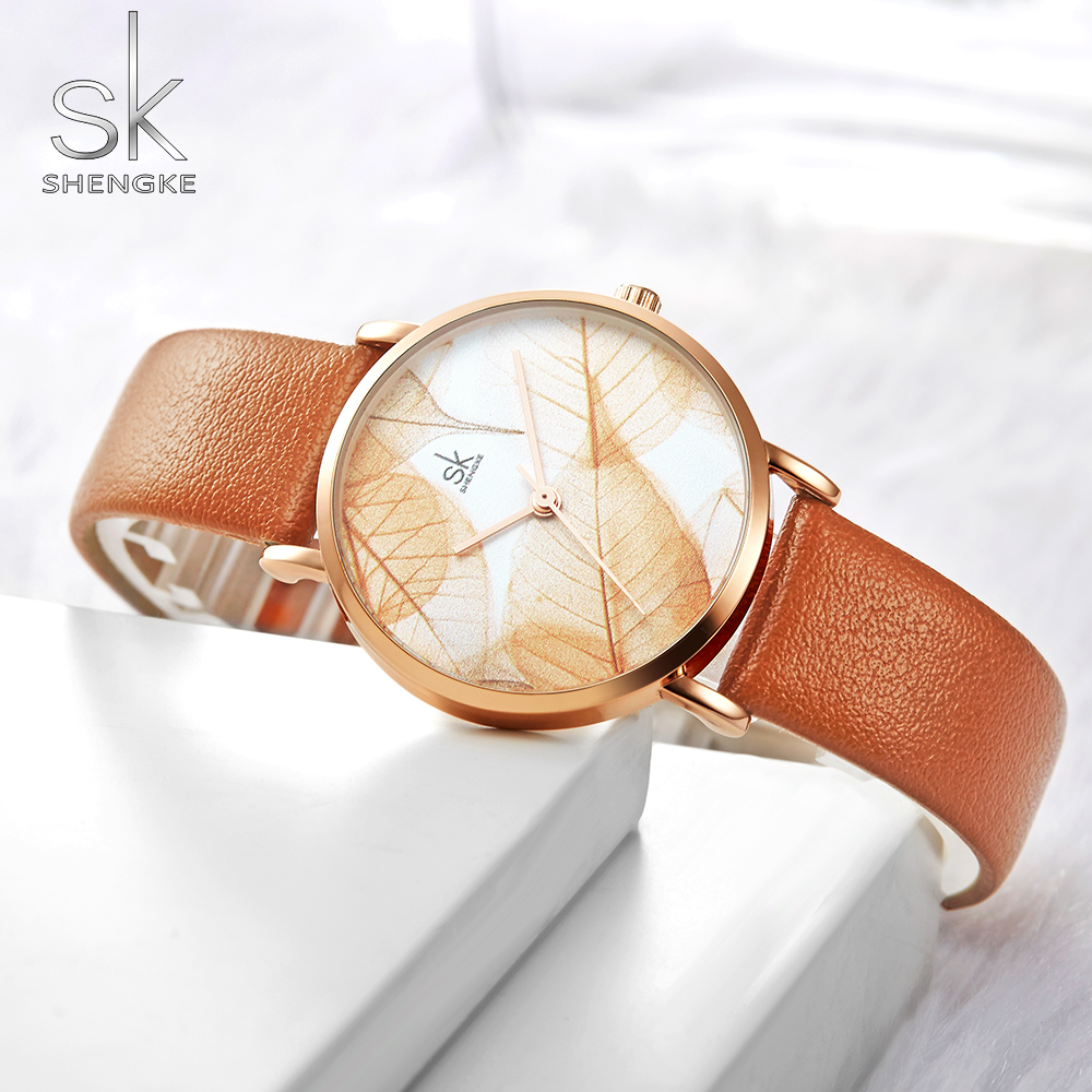 Shengke New Women Watches Creative Leaves Dial Bright Leather Strap Quartz Clock Fashion Casual Ladies Wristwatches Montre Femme